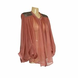 Freeway Angel Sleeve Sequin Embellished Button Up Blouse Coral w Silver Detail
